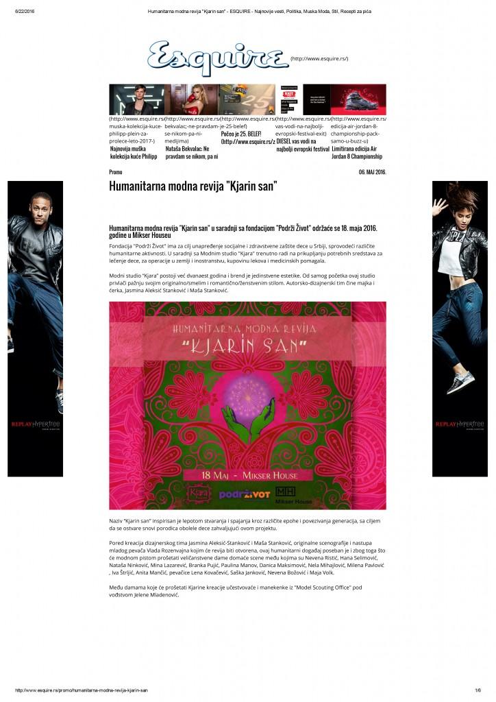 Humanitarna modna revija _Kjarin san_ - ESQUIRE - Najnovije vesti, Politika, Muska Moda, Stil, Recepti za pića-1